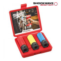 "Milwaukee 3 Piece 'SHOCKWAVE' 1/2"" Impact Socket Set"