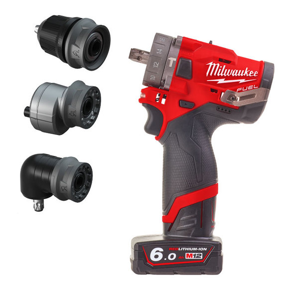 Milwaukee Power Tools, Milwaukee M12FPDXKIT-602X 'FUEL GEN II' Percussion Drill With Removable Chuck