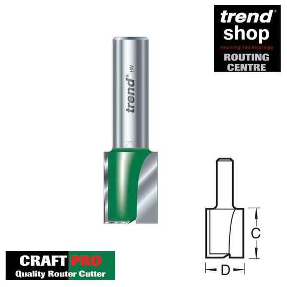 Trend Routing, Trend C023C CraftPro Two Flute Cutter 14 mm Diameter