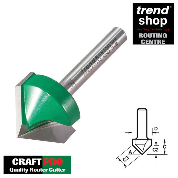 Trend Routing, Trend C045C CraftPro Chamfer V Groove 45 Degree 51 mm