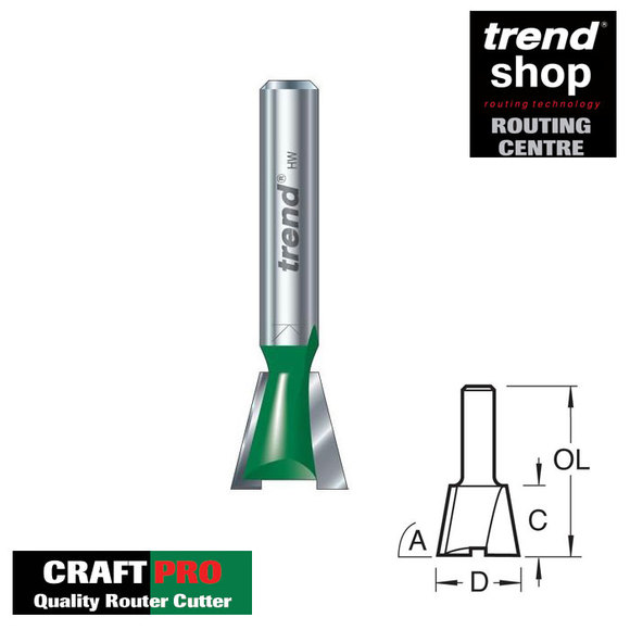 Trend Routing, Trend C160A CraftPro Dovetail Cutter 15.9 mm Diameter