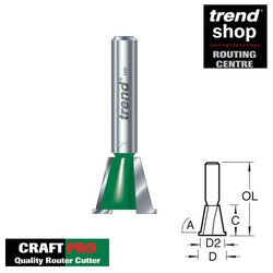 Trend C163 CraftPro Dovetail Cutter 15 mm Diameter With Spurs