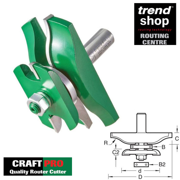 Trend Routing, Trend C184A CraftPro Guided Ogee Panel With Back Cutter
